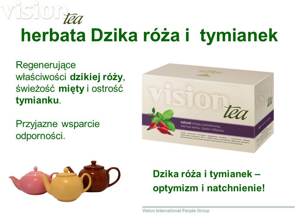 herbata Dzika róża i tymianek Regenerujące właściwości dzikiej róży, świeżość mięty i ostrość tymianku.