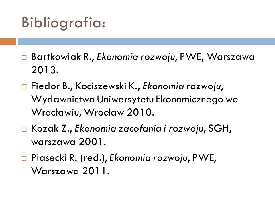 Bibliografia:  Bartkowiak R., Ekonomia rozwoju, PWE, Warszawa 2013.  Fiedor B., Kociszewski K., Ekonomia rozwoju, Wydawnictwo Uniwersytetu Ekonomicz