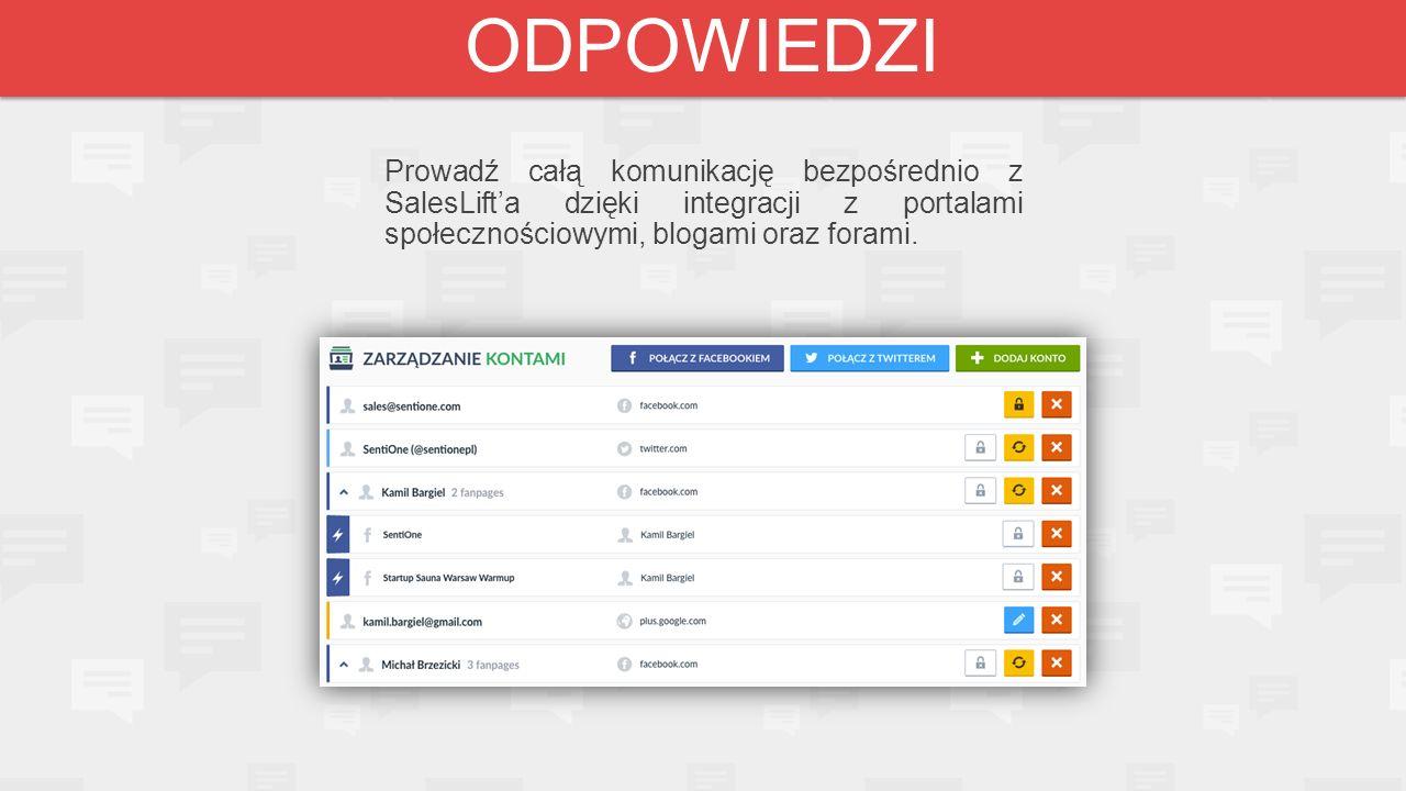 Prowadź całą komunikację bezpośrednio z SalesLift'a dzięki integracji z portalami społecznościowymi, blogami oraz forami. ODPOWIEDZI