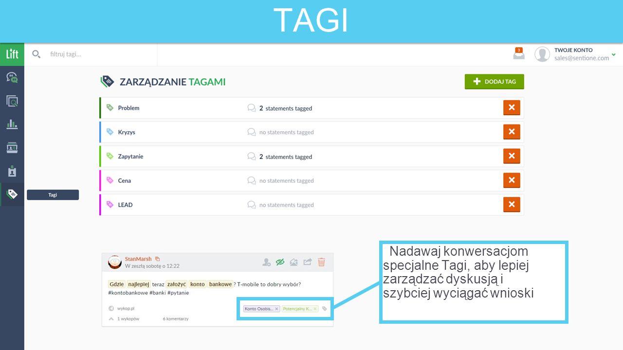 TAGI Nadawaj konwersacjom specjalne Tagi, aby lepiej zarządzać dyskusją i szybciej wyciągać wnioski