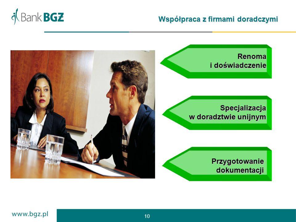 10 Współpraca z firmami doradczymi Renoma i doświadczenie Specjalizacja w doradztwie unijnym Przygotowanie dokumentacji