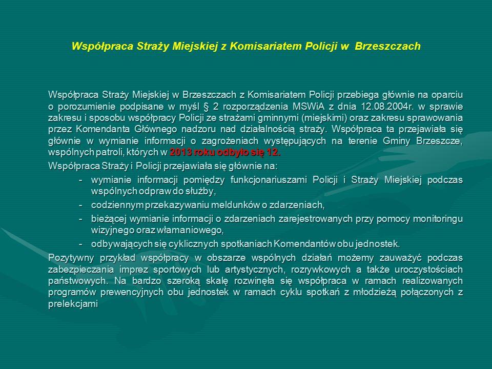 Współpraca Straży Miejskiej z Komisariatem Policji w Brzeszczach Współpraca Straży Miejskiej w Brzeszczach z Komisariatem Policji przebiega głównie na oparciu o porozumienie podpisane w myśl § 2 rozporządzenia MSWiA z dnia 12.08.2004r.
