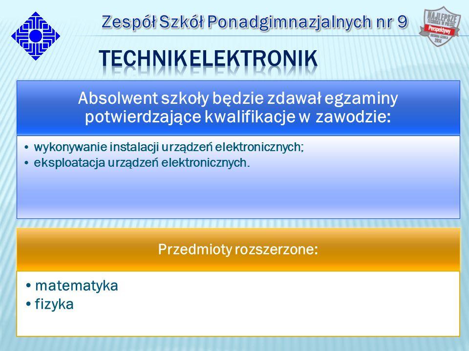 Absolwent szkoły będzie zdawał egzaminy potwierdzające kwalifikacje w zawodzie: wykonywanie instalacji urządzeń elektronicznych; eksploatacja urządzeń elektronicznych.