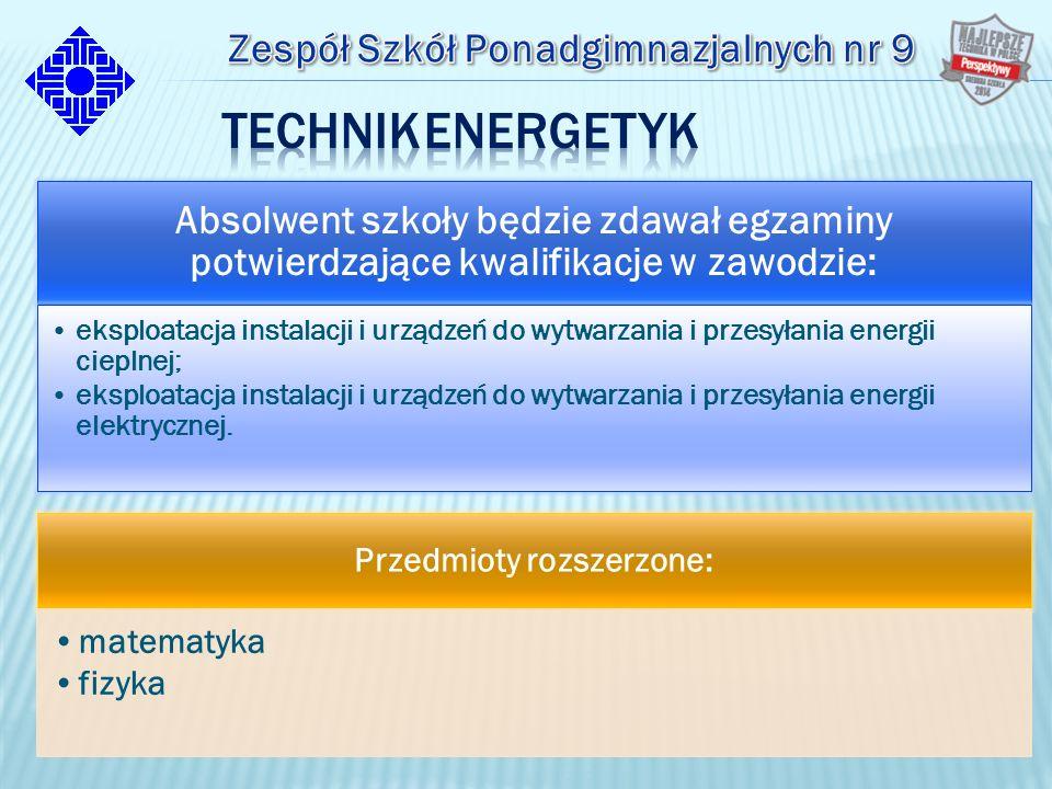 Absolwent szkoły będzie zdawał egzaminy potwierdzające kwalifikacje w zawodzie: eksploatacja instalacji i urządzeń do wytwarzania i przesyłania energii cieplnej; eksploatacja instalacji i urządzeń do wytwarzania i przesyłania energii elektrycznej.