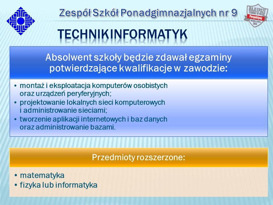 Absolwent szkoły będzie zdawał egzaminy potwierdzające kwalifikacje w zawodzie: montaż i eksploatacja komputerów osobistych oraz urządzeń peryferyjnych; projektowanie lokalnych sieci komputerowych i administrowanie sieciami; tworzenie aplikacji internetowych i baz danych oraz administrowanie bazami.
