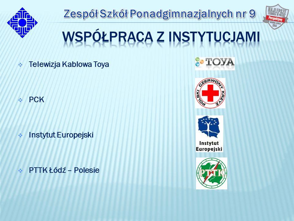  Telewizja Kablowa Toya  PCK  Instytut Europejski  PTTK Łódź – Polesie