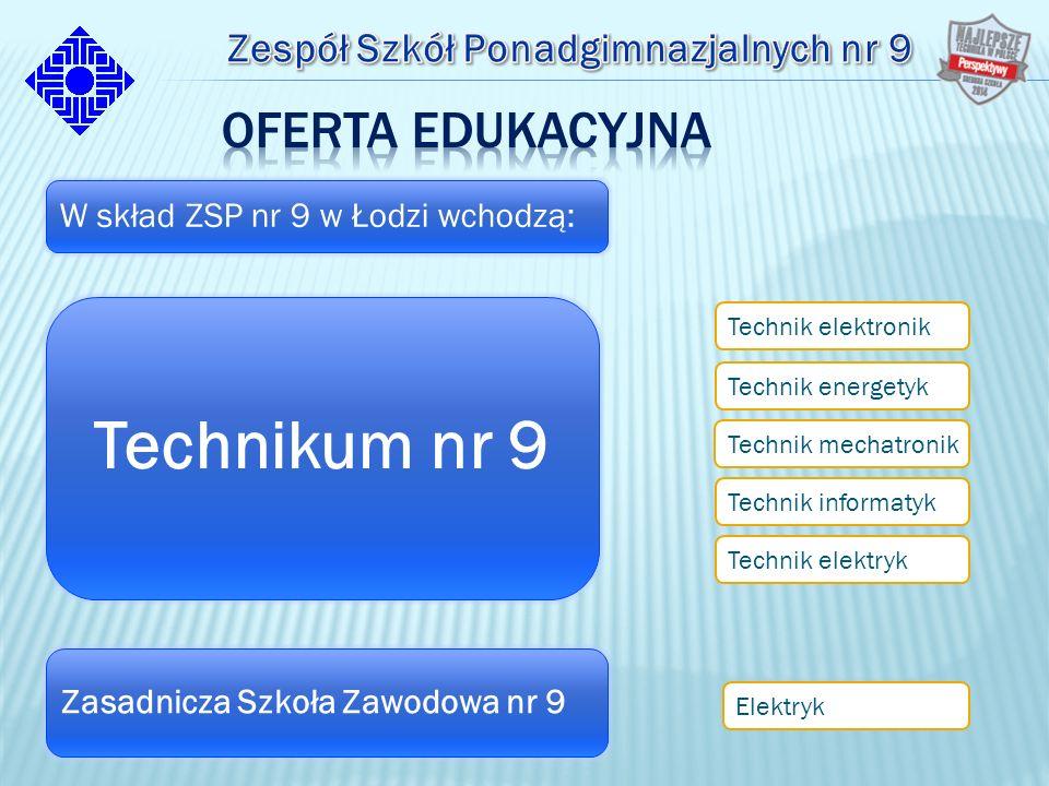 W skład ZSP nr 9 w Łodzi wchodzą: Technikum nr 9 Technik informatyk Technik elektronik Technik energetyk Technik mechatronik Technik elektryk Zasadnicza Szkoła Zawodowa nr 9 Elektryk
