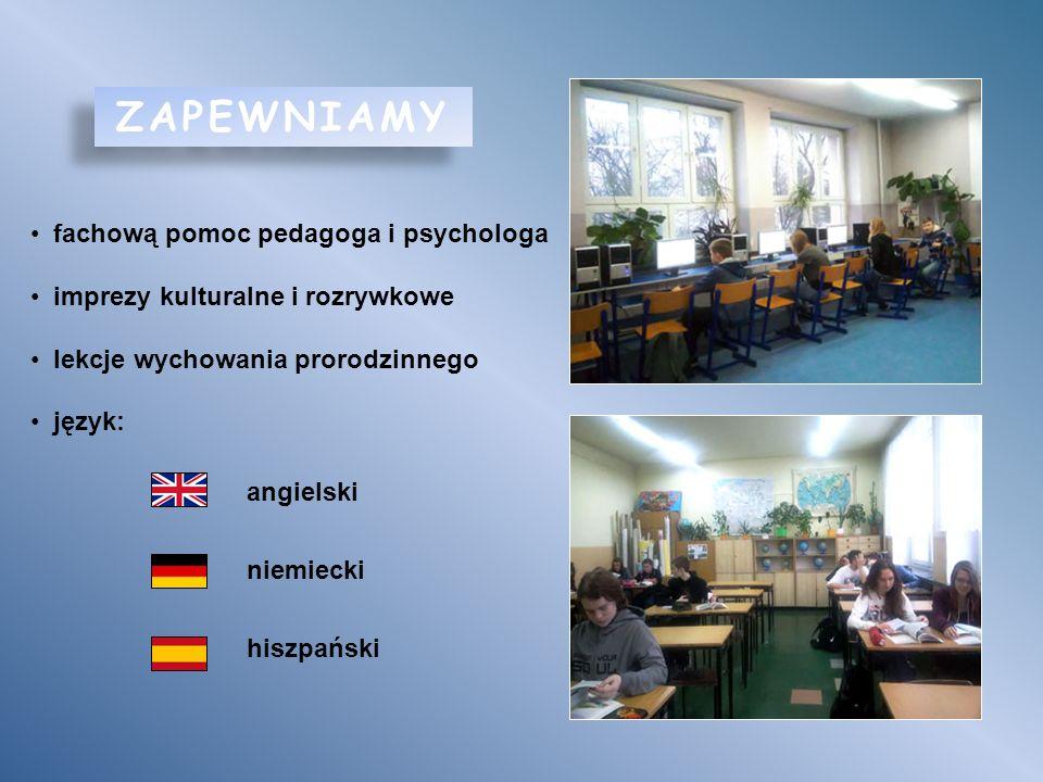 ZAPEWNIAMY fachową pomoc pedagoga i psychologa imprezy kulturalne i rozrywkowe lekcje wychowania prorodzinnego język: angielski niemiecki hiszpański