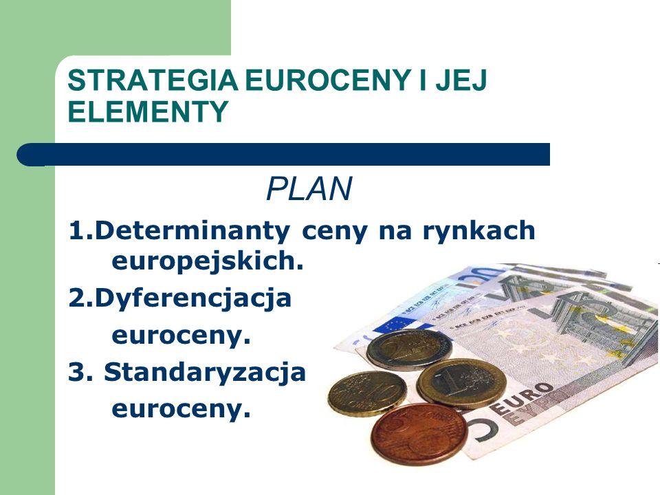 STRATEGIA EUROCENY I JEJ ELEMENTY PLAN 1.Determinanty ceny na rynkach europejskich.