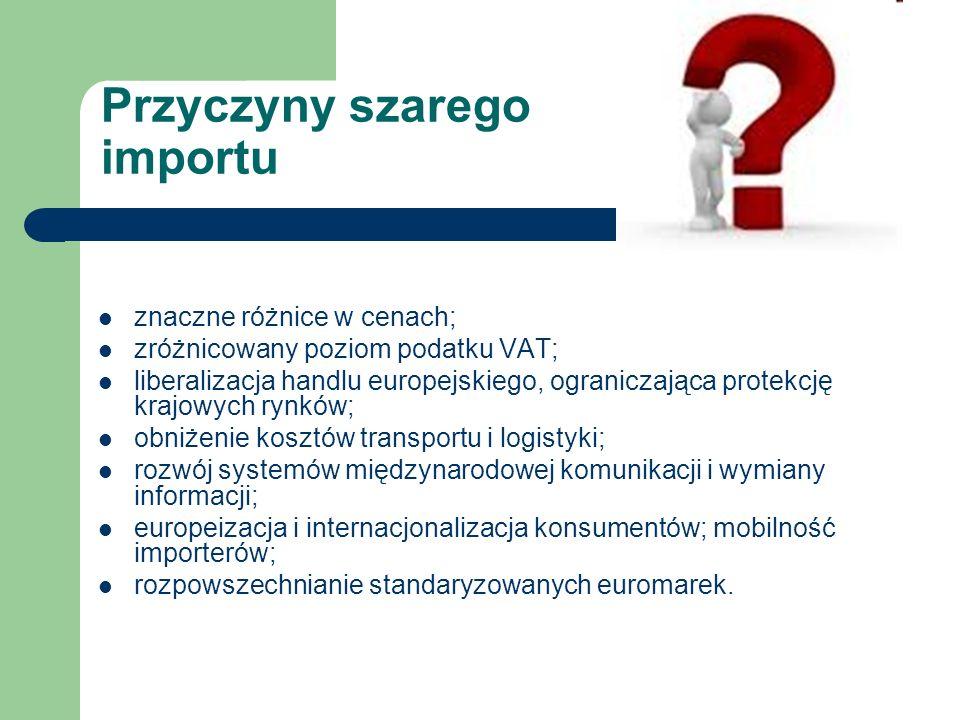 Przyczyny szarego importu znaczne różnice w cenach; zróżnicowany poziom podatku VAT; liberalizacja handlu europejskiego, ograniczająca protekcję krajowych rynków; obniżenie kosztów transportu i logistyki; rozwój systemów międzynarodowej komunikacji i wymiany informacji; europeizacja i internacjonalizacja konsumentów; mobilność importerów; rozpowszechnianie standaryzowanych euromarek.