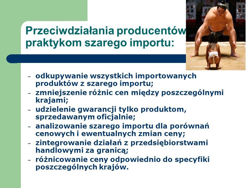 Przeciwdziałania producentów praktykom szarego importu: – odkupywanie wszystkich importowanych produktów z szarego importu; – zmniejszenie różnic cen między poszczególnymi krajami; – udzielenie gwarancji tylko produktom, sprzedawanym oficjalnie; – analizowanie szarego importu dla porównań cenowych i ewentualnych zmian ceny; – zintegrowanie działań z przedsiębiorstwami handlowymi za granicą; – różnicowanie ceny odpowiednio do specyfiki poszczególnych krajów.
