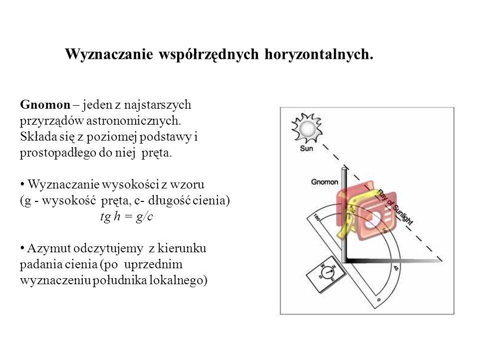 Wyznaczanie współrzędnych horyzontalnych.Gnomon – jeden z najstarszych przyrządów astronomicznych.