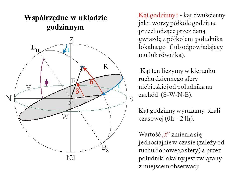 Kąt godzinny t - kąt dwuścienny jaki tworzy półkole godzinne przechodzące przez daną gwiazdę z półkolem południka lokalnego (lub odpowiadający mu łuk równika).