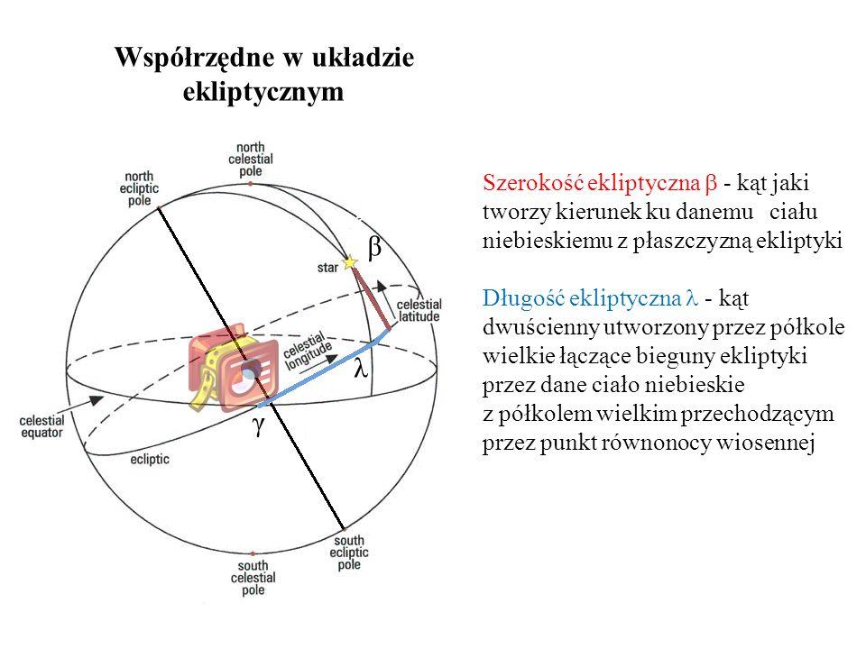 Współrzędne w układzie ekliptycznym Szerokość ekliptyczna  - kąt jaki tworzy kierunek ku danemu ciału niebieskiemu z płaszczyzną ekliptyki Długość ekliptyczna - kąt dwuścienny utworzony przez półkole wielkie łączące bieguny ekliptyki przez dane ciało niebieskie z półkolem wielkim przechodzącym przez punkt równonocy wiosennej β λ γ