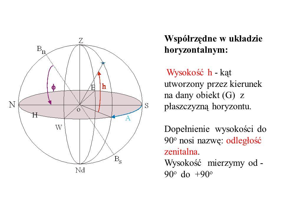 Współrzędne w układzie horyzontalnym: Wysokość h - kąt utworzony przez kierunek na dany obiekt (G) z płaszczyzną horyzontu.