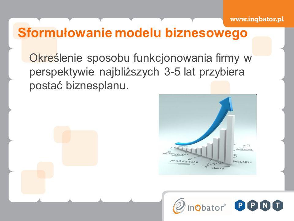 Sformułowanie modelu biznesowego Określenie sposobu funkcjonowania firmy w perspektywie najbliższych 3-5 lat przybiera postać biznesplanu.