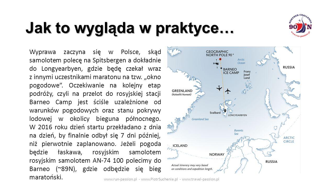 Jak to wygląda w praktyce… www.run-passion.pl - www.PiotrSuchenia.pl - www.travel-passion.pl Wyprawa zaczyna się w Polsce, skąd samolotem polecę na Spitsbergen a dokładnie do Longyearbyen, gdzie będę czekał wraz z innymi uczestnikami maratonu na tzw.