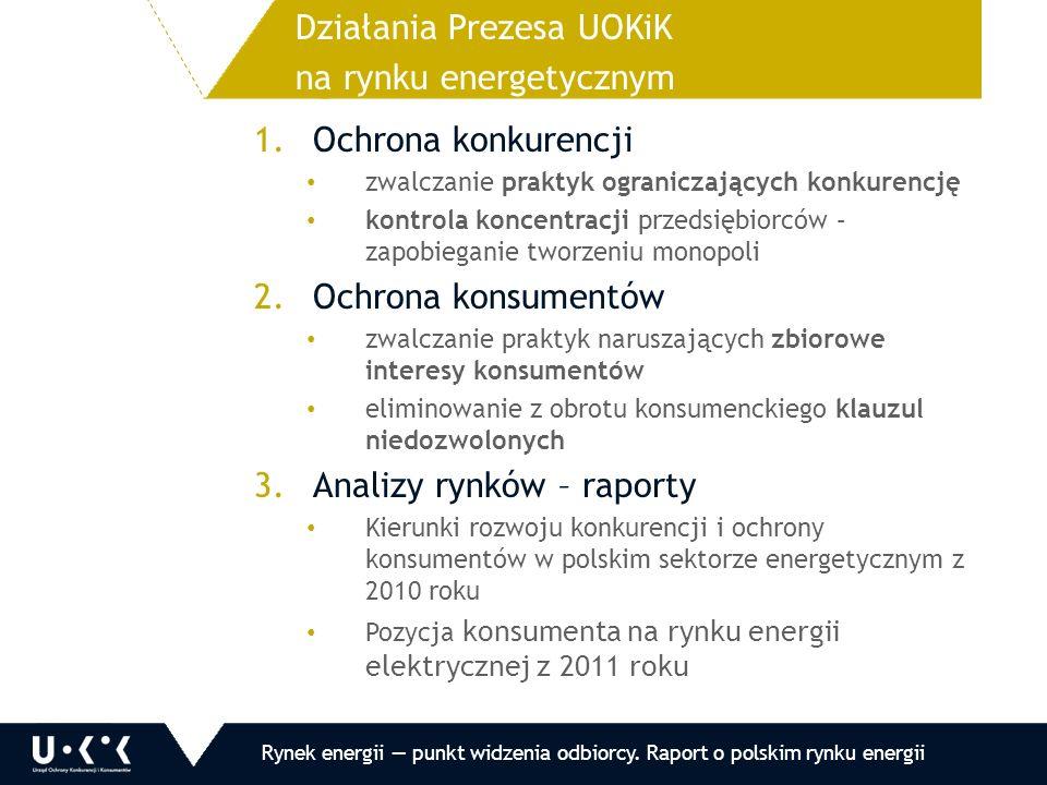 1.Ochrona konkurencji zwalczanie praktyk ograniczających konkurencję kontrola koncentracji przedsiębiorców – zapobieganie tworzeniu monopoli 2.Ochrona konsumentów zwalczanie praktyk naruszających zbiorowe interesy konsumentów eliminowanie z obrotu konsumenckiego klauzul niedozwolonych 3.Analizy rynków – raporty Kierunki rozwoju konkurencji i ochrony konsumentów w polskim sektorze energetycznym z 2010 roku Pozycja konsumenta na rynku energii elektrycznej z 2011 roku Działania Prezesa UOKiK na rynku energetycznym Rynek energii — punkt widzenia odbiorcy.