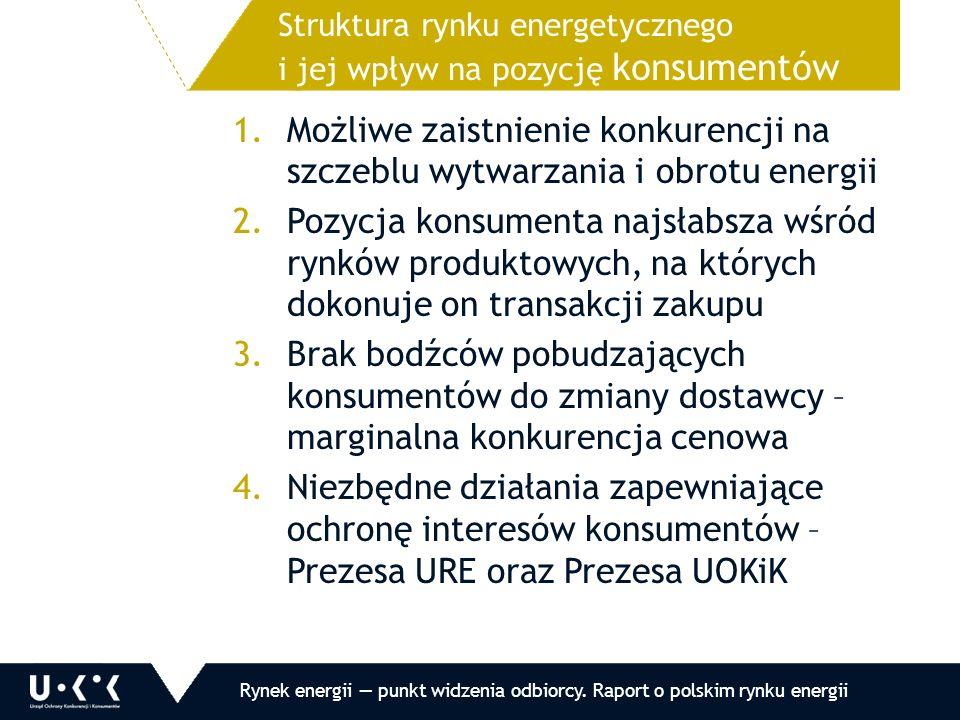 1.Możliwe zaistnienie konkurencji na szczeblu wytwarzania i obrotu energii 2.Pozycja konsumenta najsłabsza wśród rynków produktowych, na których dokonuje on transakcji zakupu 3.Brak bodźców pobudzających konsumentów do zmiany dostawcy – marginalna konkurencja cenowa 4.Niezbędne działania zapewniające ochronę interesów konsumentów – Prezesa URE oraz Prezesa UOKiK Struktura rynku energetycznego i jej wpływ na pozycję konsumentów Rynek energii — punkt widzenia odbiorcy.