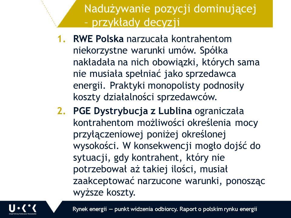 1.Kontrola wzorców umów stosowanych przez 13 przedsiębiorców 2.13 decyzji, w tym 9 zobowiązaniowych 3.Wybrane nieprawidłowości: a.wyłączenie odpowiedzialności za brak prądu b.możliwość żądania zabezpieczenia c.brak wymaganych przez prawo informacji 4.7 pozwów skierowanych do SOKiK o uznanie postanowień wzorca za niedozwolone Naruszenie zbiorowych interesów konsumentów – działania w 2011 roku Rynek energii — punkt widzenia odbiorcy.