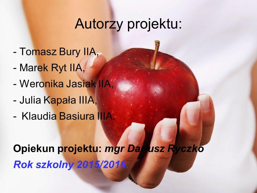 Autorzy projektu: - Tomasz Bury IIA, - Marek Ryt IIA, - Weronika Jasiak IIA, - Julia Kapała IIIA, -Klaudia Basiura IIIA.