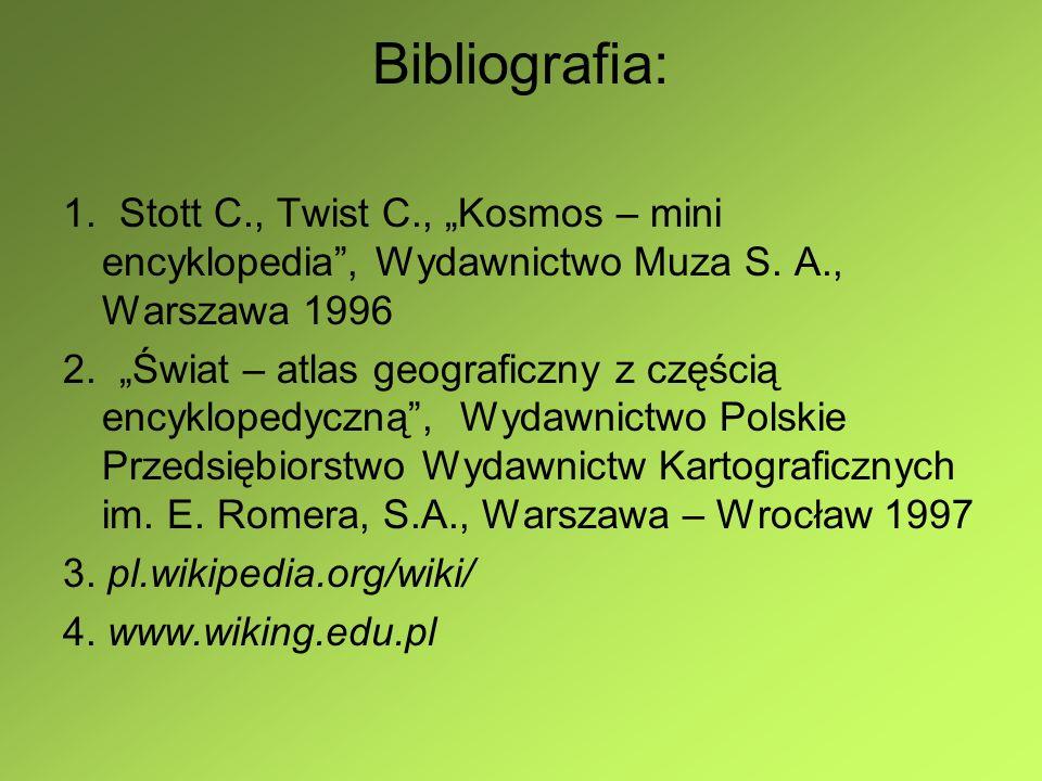 """Bibliografia: 1. Stott C., Twist C., """"Kosmos – mini encyklopedia , Wydawnictwo Muza S."""