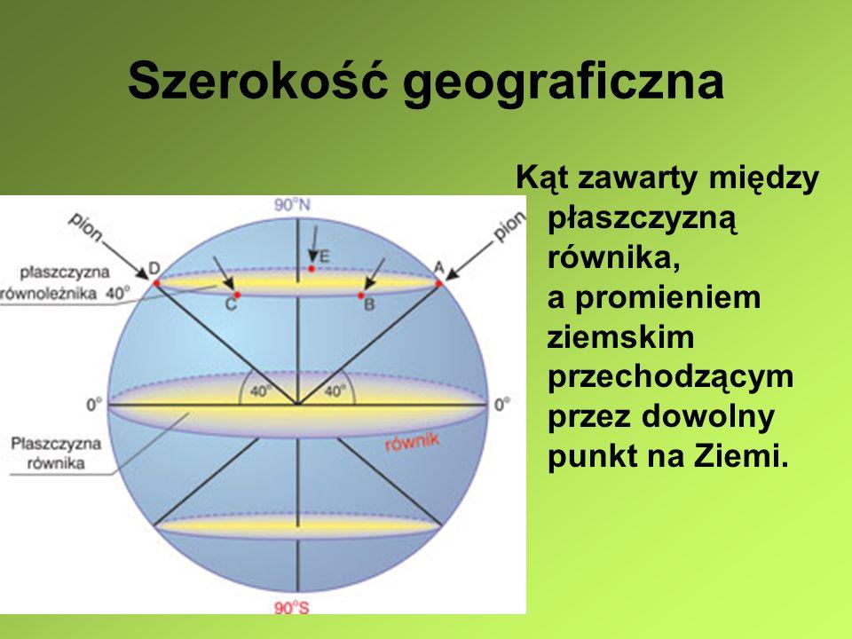 Szerokość geograficzna Wszystkie punkty położone na półkuli północnej mają szerokość geograficzną Północną (N), a położone na półkuli południowej mają szerokość geograficzną południową (S)
