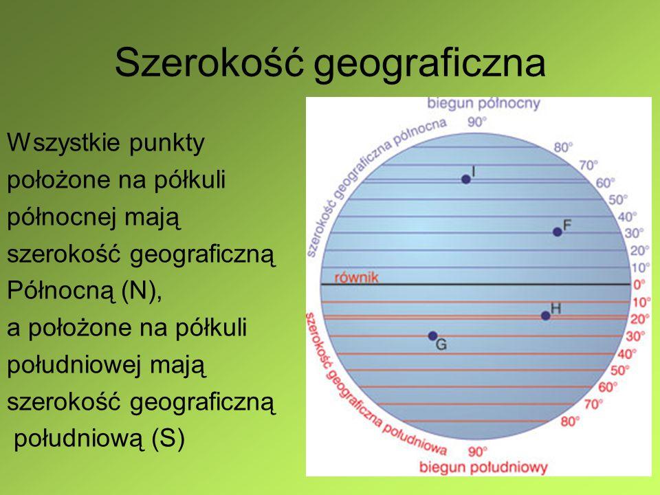 Współrzędne geograficzne A (40°E, 30°N) B (30°W,20°S) C (20°W,35°N) D (45°E,34°S)