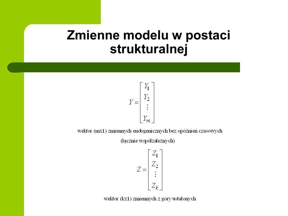 Zmienne modelu w postaci strukturalnej