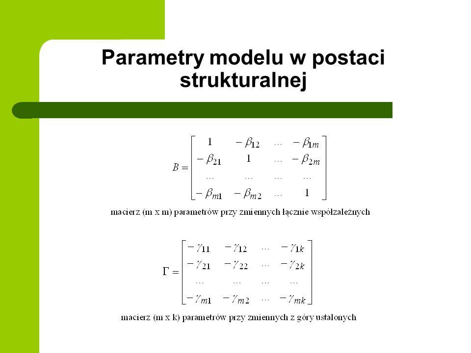 Parametry modelu w postaci strukturalnej