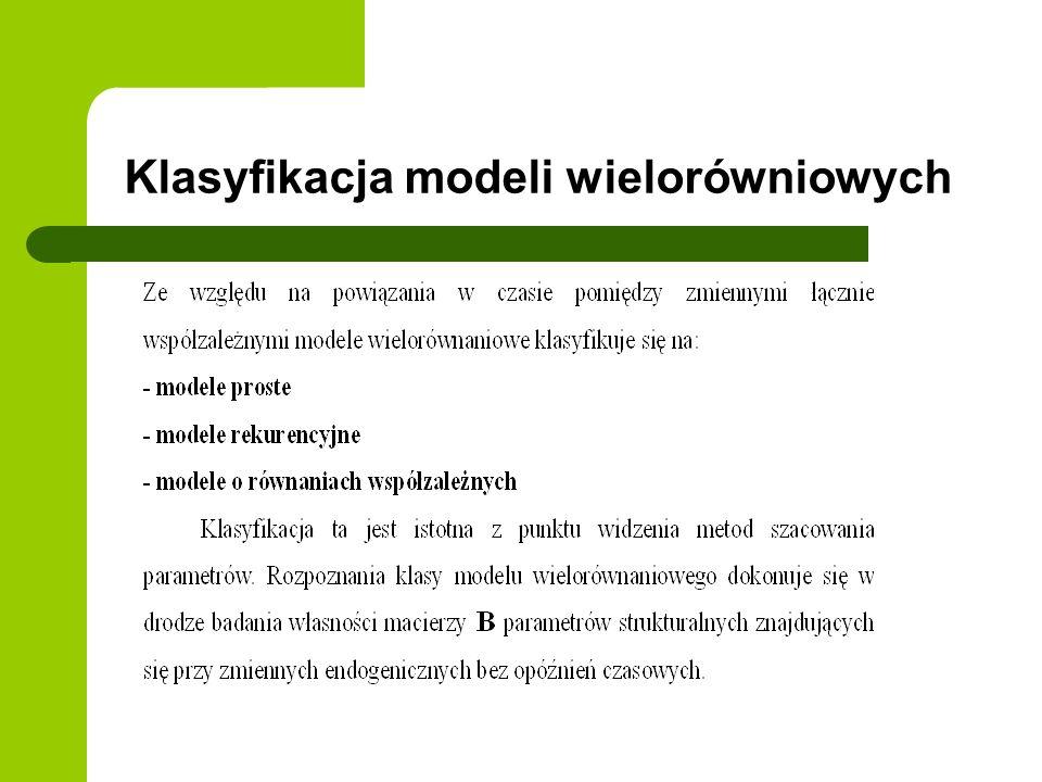 Klasyfikacja modeli wielorówniowych