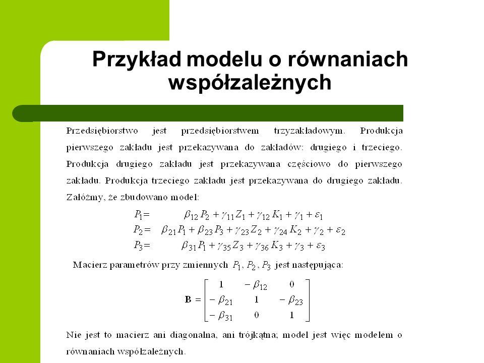 Przykład modelu o równaniach współzależnych
