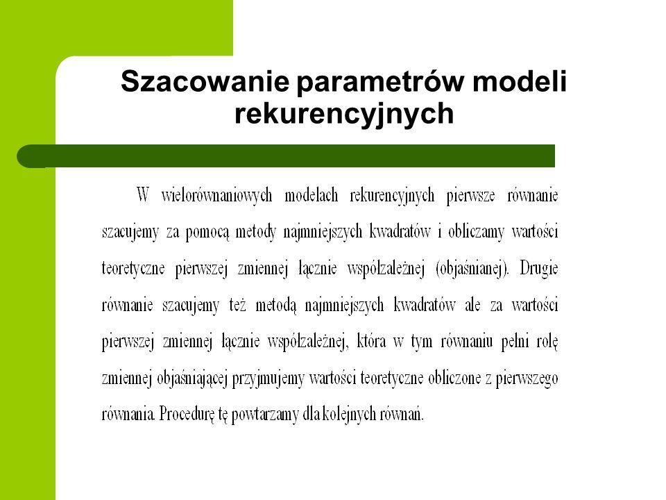 Szacowanie parametrów modeli rekurencyjnych