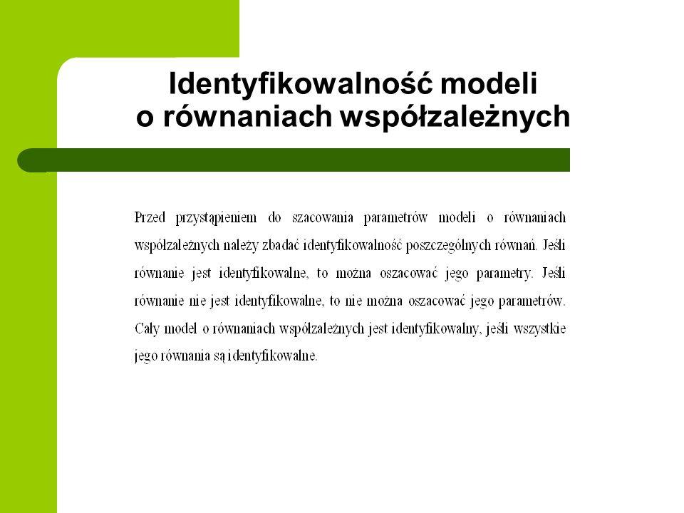 Identyfikowalność modeli o równaniach współzależnych