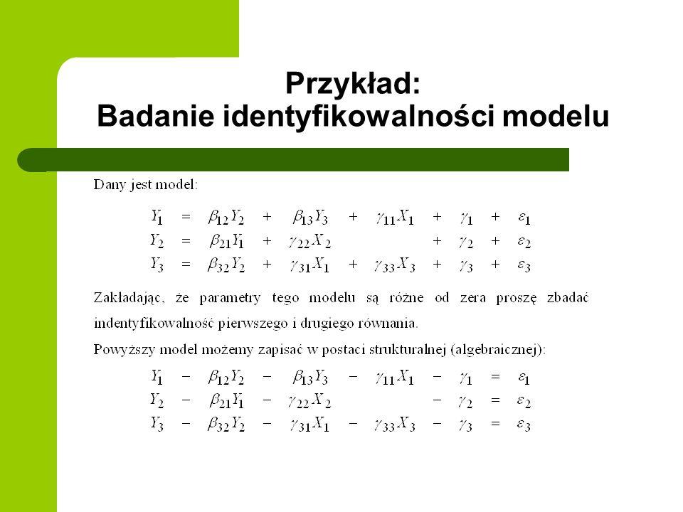 Przykład: Badanie identyfikowalności modelu