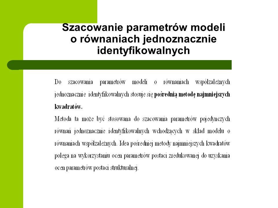 Szacowanie parametrów modeli o równaniach jednoznacznie identyfikowalnych