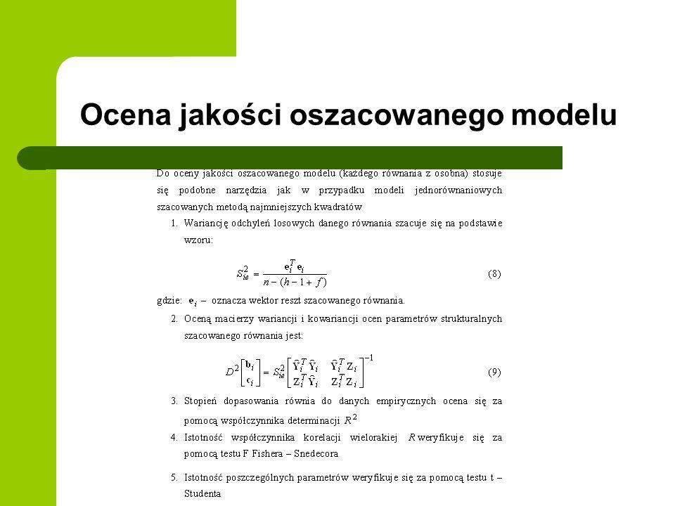 Ocena jakości oszacowanego modelu