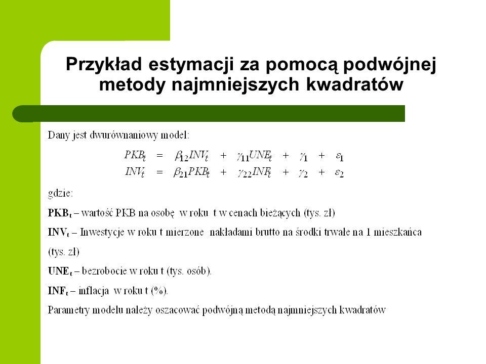 Przykład estymacji za pomocą podwójnej metody najmniejszych kwadratów
