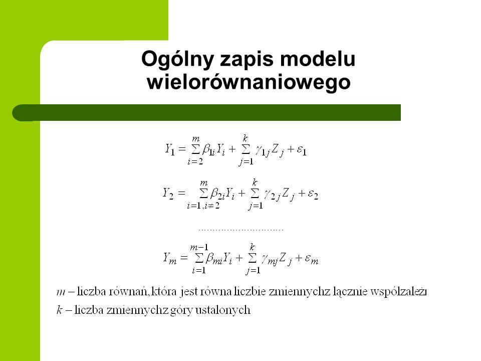 Ogólny zapis modelu wielorównaniowego