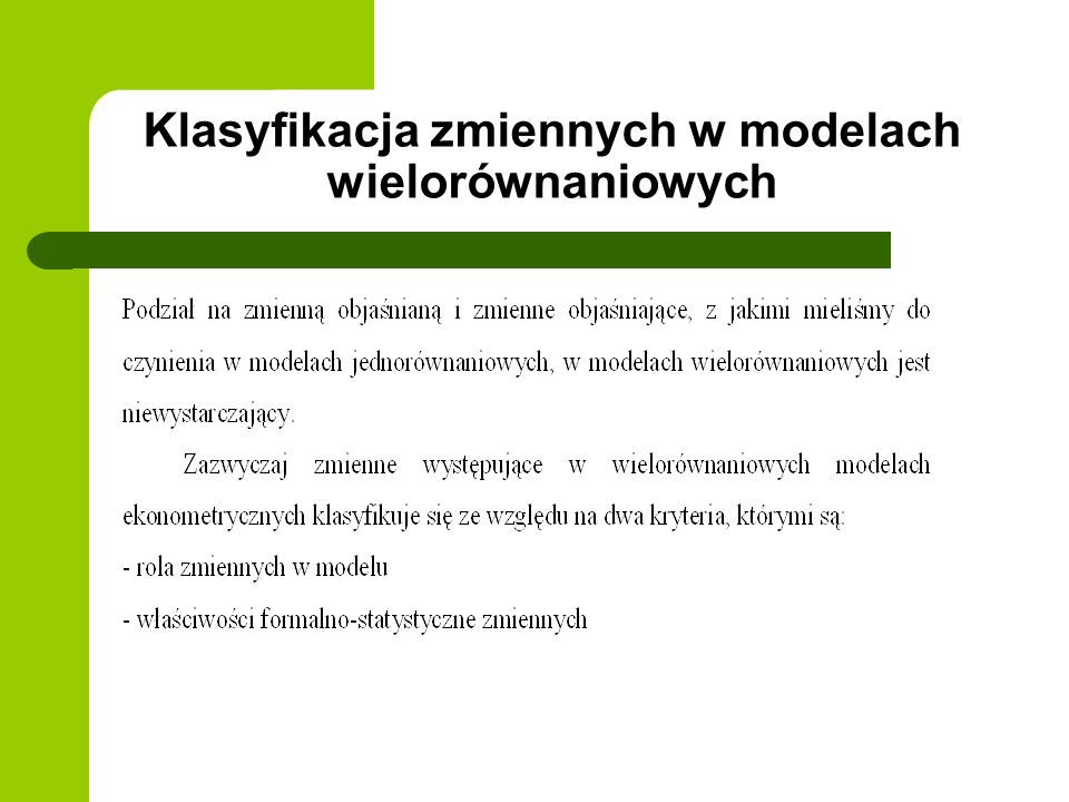 Klasyfikacja zmiennych w modelach wielorównaniowych