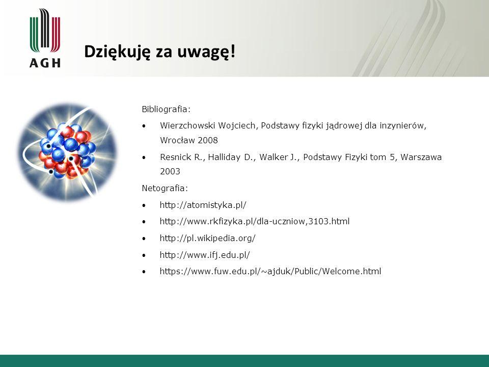 Dziękuję za uwagę! Bibliografia: Wierzchowski Wojciech, Podstawy fizyki jądrowej dla inzynierów, Wrocław 2008 Resnick R., Halliday D., Walker J., Pods