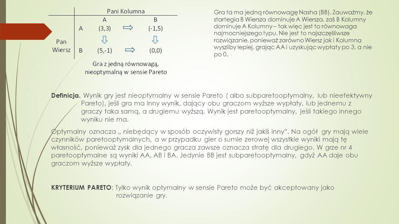 W celu sprawdzenia które z wyników są paretooptymalne należy umieścić na układzie współrzędnych wyniki graczy.