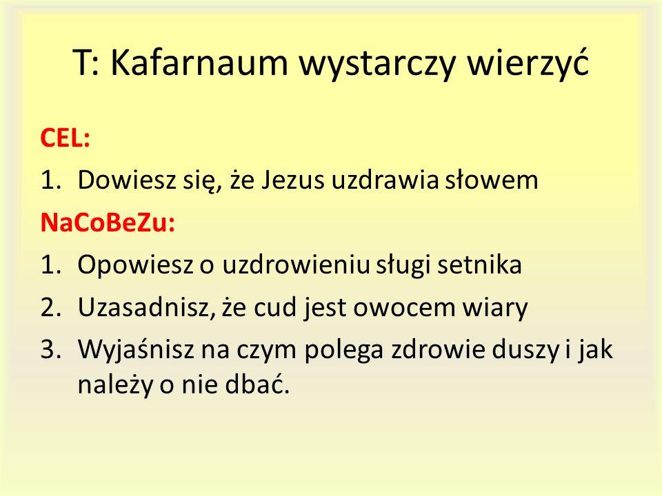T: Kafarnaum wystarczy wierzyć CEL: 1.Dowiesz się, że Jezus uzdrawia słowem NaCoBeZu: 1.Opowiesz o uzdrowieniu sługi setnika 2.Uzasadnisz, że cud jest