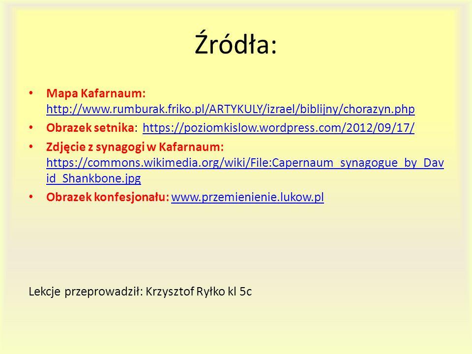 Źródła: Mapa Kafarnaum: http://www.rumburak.friko.pl/ARTYKULY/izrael/biblijny/chorazyn.php http://www.rumburak.friko.pl/ARTYKULY/izrael/biblijny/chora