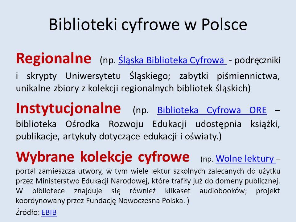 Biblioteki cyfrowe w Polsce Regionalne (np.