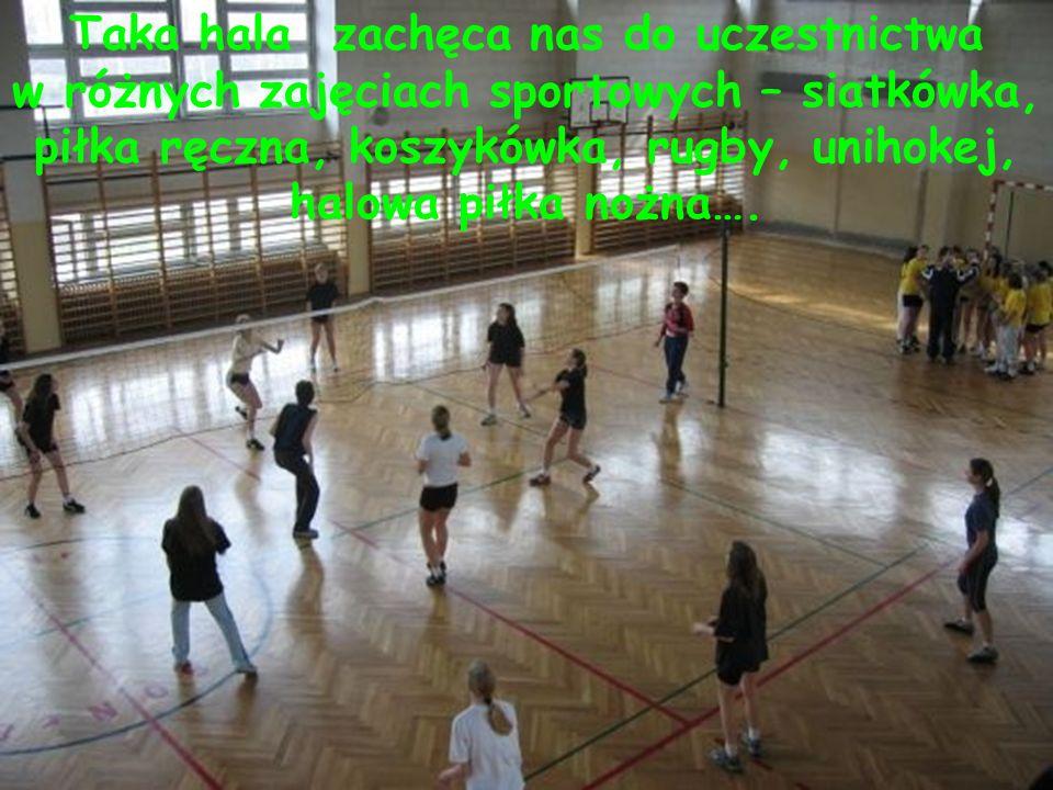 Taka hala zachęca nas do uczestnictwa w różnych zajęciach sportowych – siatkówka, piłka ręczna, koszykówka, rugby, unihokej, halowa piłka nożna….