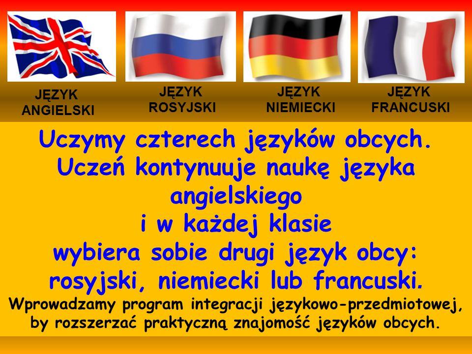 JĘZYK ANGIELSKI JĘZYK NIEMIECKI JĘZYK ROSYJSKI JĘZYK FRANCUSKI Uczymy czterech języków obcych.