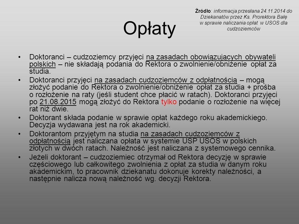 Opłaty Doktoranci – cudzoziemcy przyjęci na zasadach obowiązujących obywateli polskich – nie składają podania do Rektora o zwolnienie/obniżenie opłat za studia.