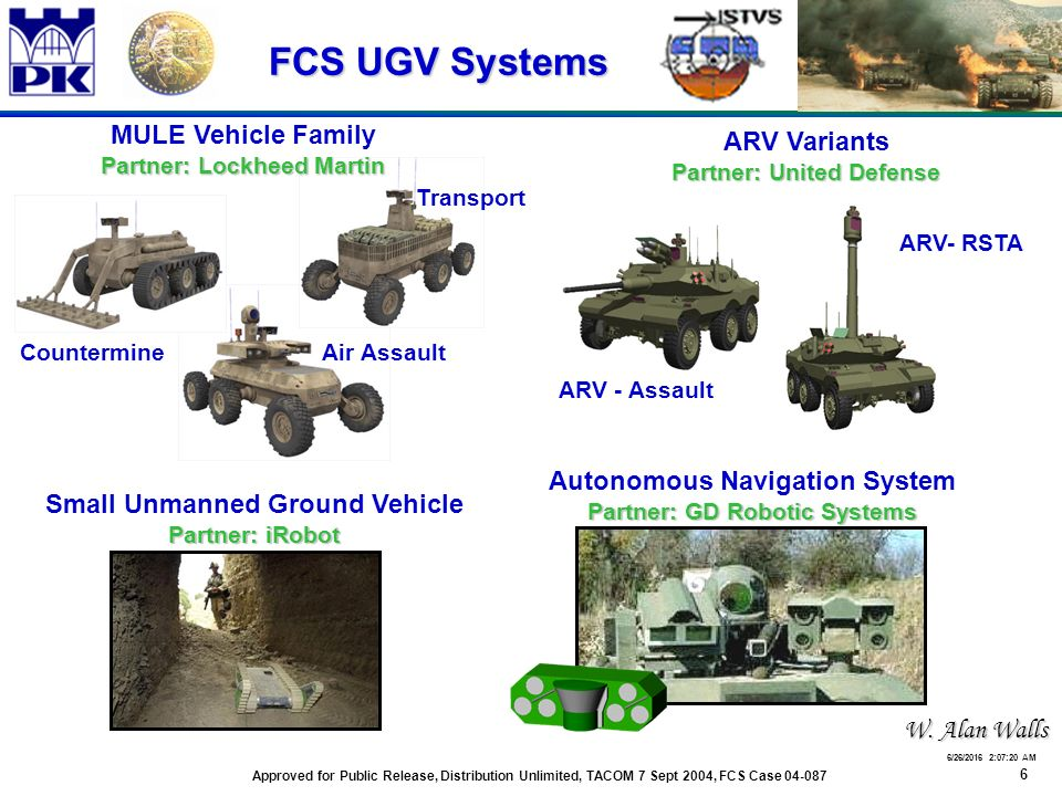 6 6/26/2016 2:07:48 AM FCS UGV Systems Autonomous Navigation System Partner: GD Robotic Systems Small Unmanned Ground Vehicle Partner: iRobot Air Assault Transport Countermine MULE Vehicle Family Partner: Lockheed Martin ARV Variants Partner: United Defense ARV - Assault ARV- RSTA Approved for Public Release, Distribution Unlimited, TACOM 7 Sept 2004, FCS Case 04-087 W.