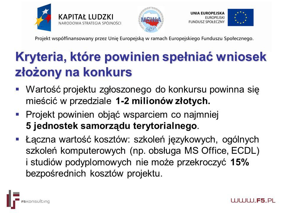Kryteria, które powinien spełniać wniosek złożony na konkurs  Wartość projektu zgłoszonego do konkursu powinna się mieścić w przedziale 1-2 milionów złotych.
